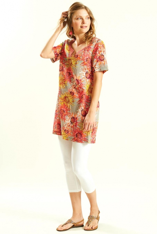 Short Sleeve Tunic in Cotton Voile xtra view of Guava