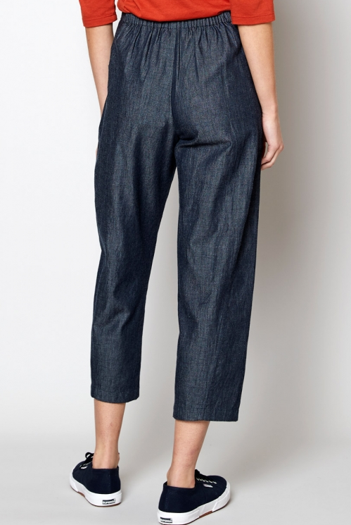 Dark Chambray Fair Trade Ethically Made Chambray Bubble Trousers