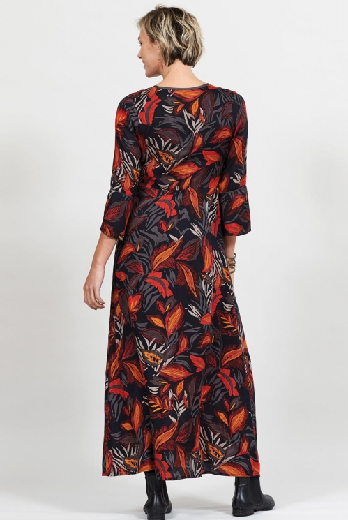 Ethically Made Graphite Dancing Leaves Long Sleeved Maxi Dress