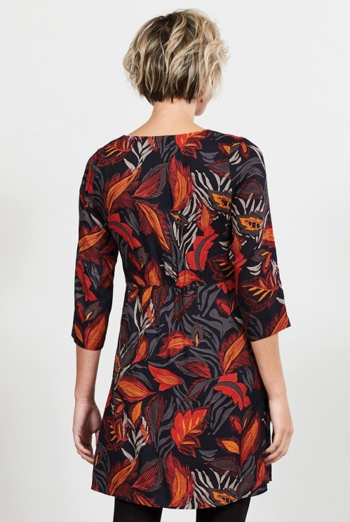Sustainable Graphite Printed Asymmetric Pleat Tunic Dress
