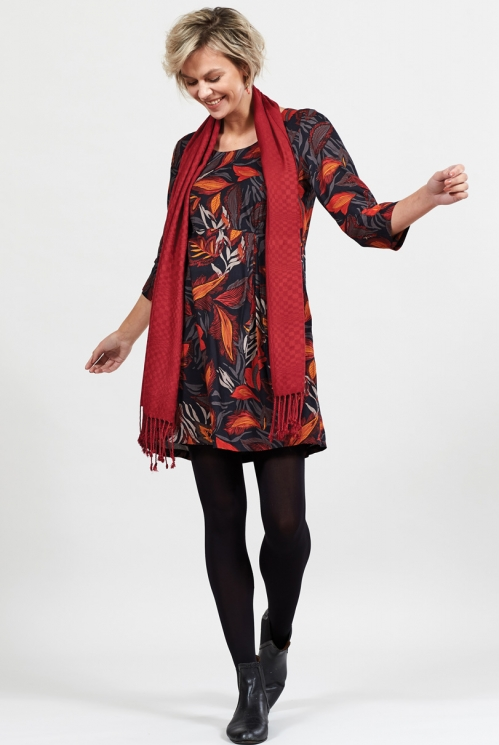 Graphite Sustainable Printed Asymmetric Pleat Tunic Dress