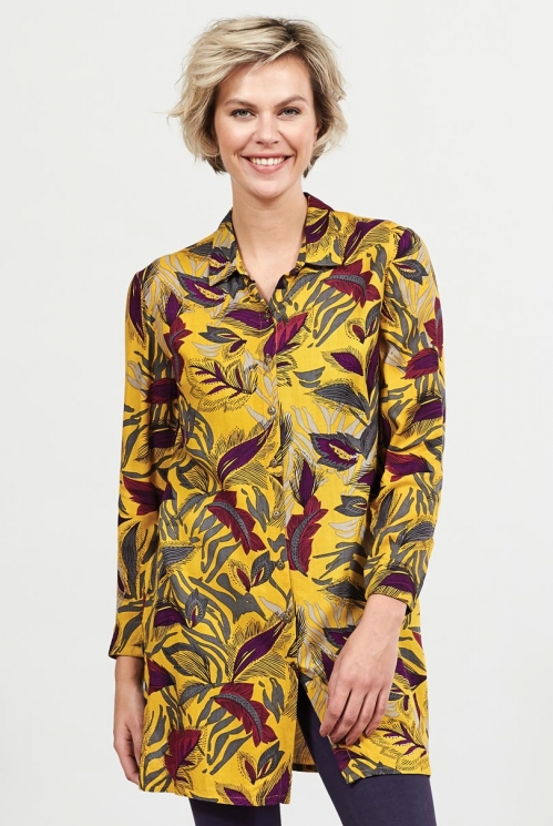 Sustainable Dahl Dancing Leaves Button Through Shirt Dress