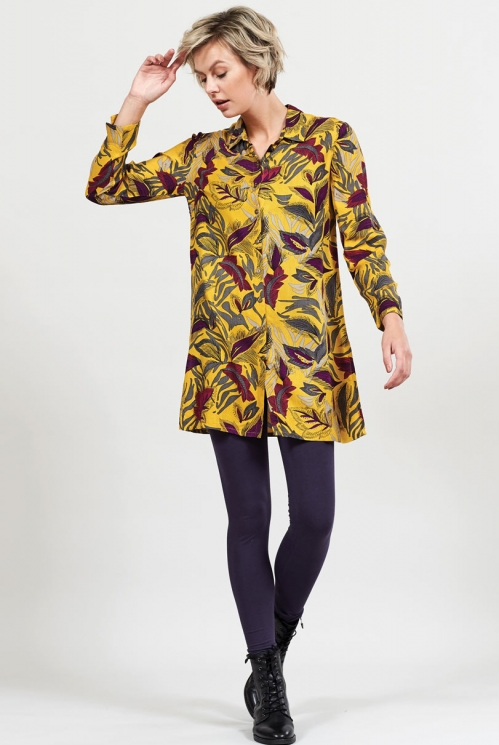 Dahl Sustainable Dancing Leaves Button Through Shirt Dress