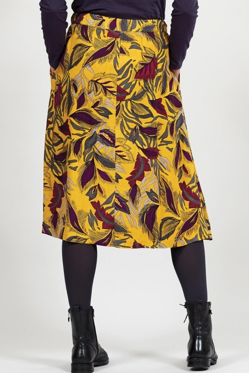 Ethically Made Dahl Dancing Leaves Midi Skirt