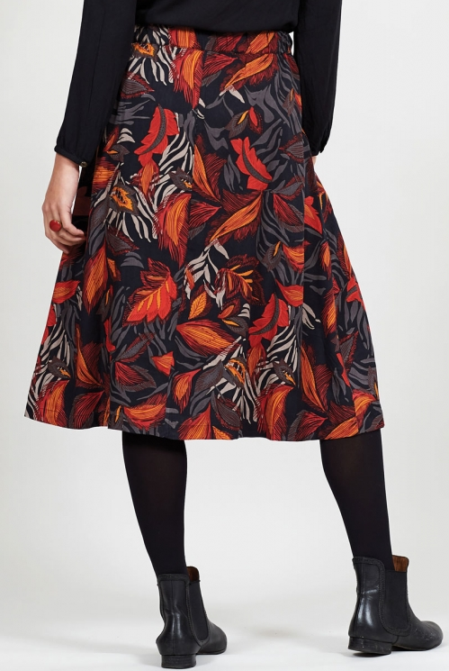 Graphite Fair Trade Dancing Leaves Midi Skirt
