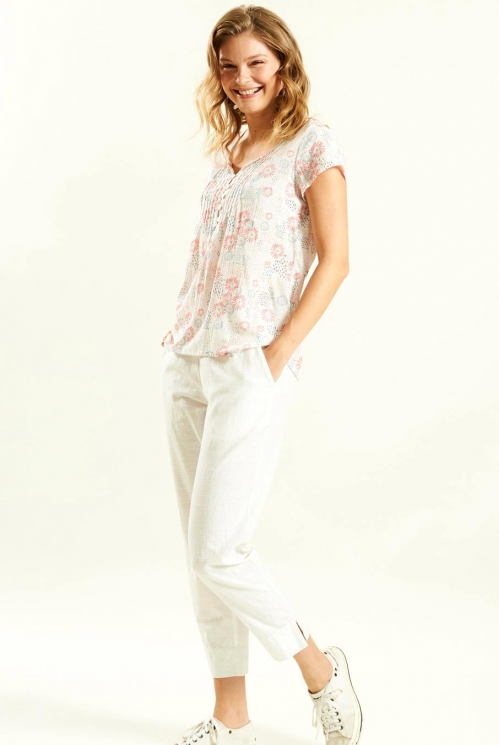 Capsleeve Blouse in Cotton Voile xtra view of Guava