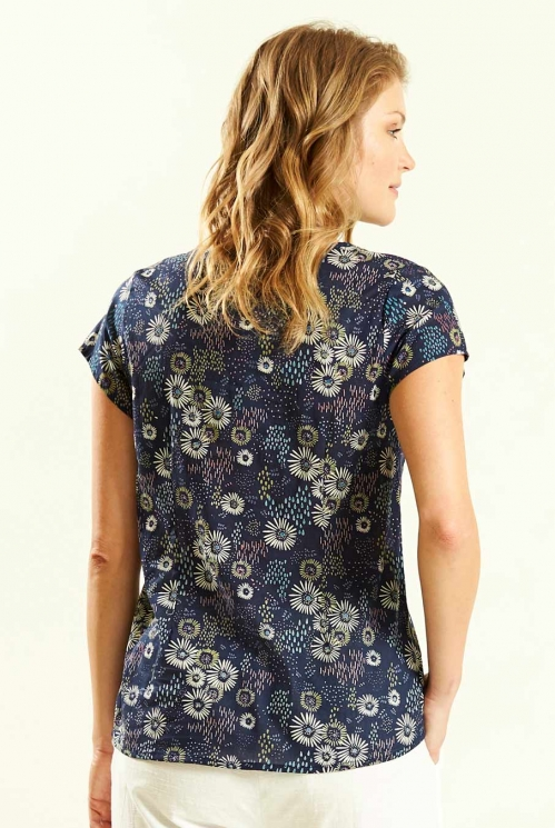 Capsleeve Blouse in Navy - back view