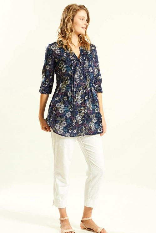 Tunic Shirt in Cotton Voile xtra view of Navy