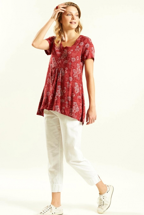 Scooped Hem Tunic in Woven Viscose xtra view of Jam 2