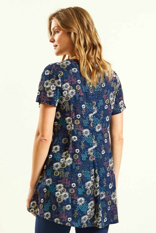 Scooped Hem Tunic in Navy - back view