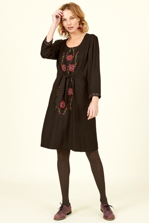 Sustainable Chocolate Brown Embroidered Dress
