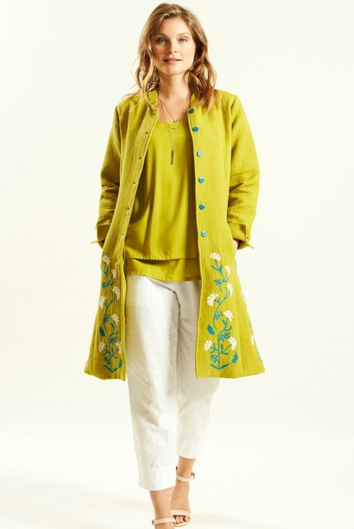 Jacquard Coat in Cotton Jacquard xtra view of Avocado