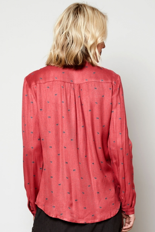 Coral Ethically Made Sustainable Elephant Print Shirt