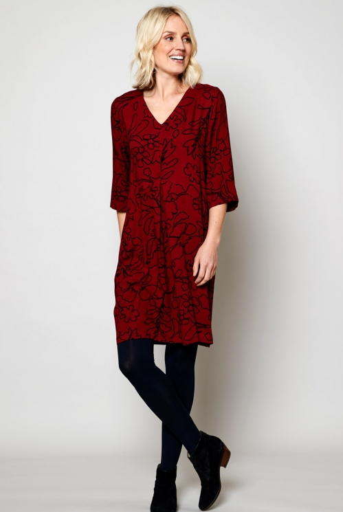 Fig Ethically Made Pleat Front Tunic Dress