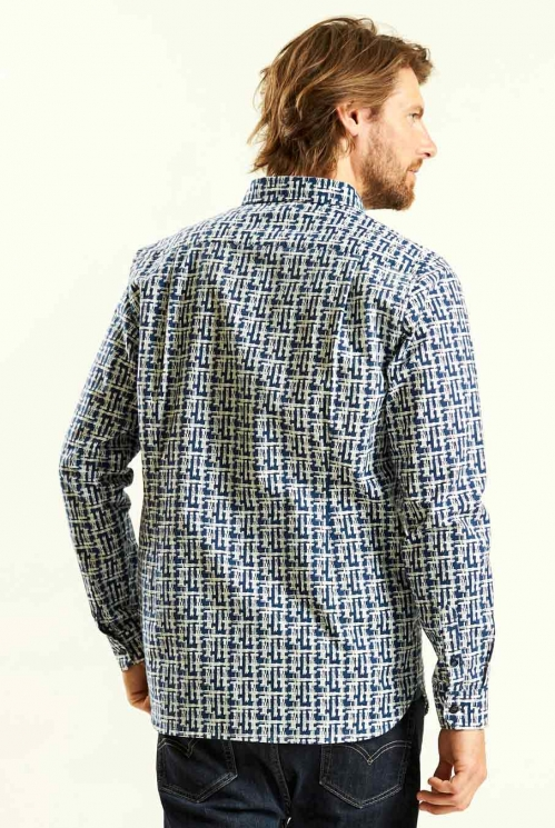 Etch LS Shirt in Navy - back view