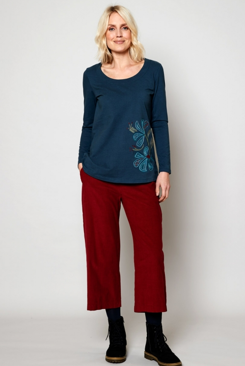 Deep Sea Sustainable Fair Trade Embroidered Long Top