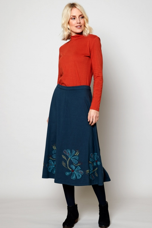 Deep Sea Ethically Made Sustainable Embroidered Swing Skirt