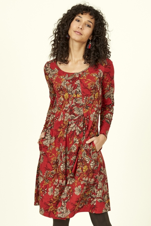 Holly Red Fair Trade Organic Cotton Flared Pleat Dress