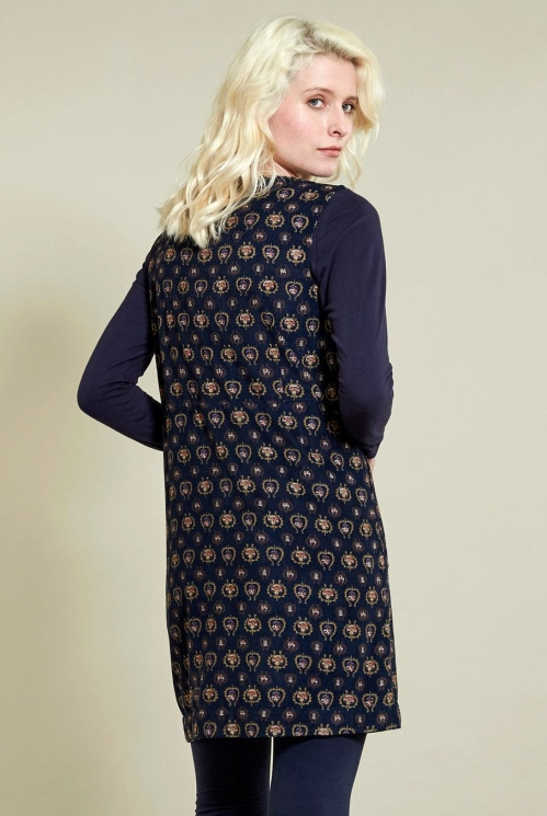 Pinafore Tunic Dress in Navy - back view