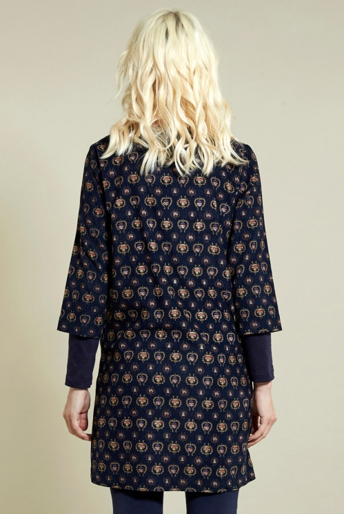 Folk Tunic Dress in Navy - back view