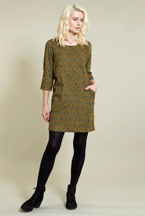 Folk Tunic Dress in Cotton Needlecord - image shows Ochre