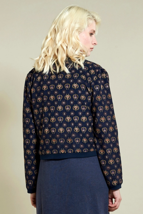 Printed Bomber Jacket in Navy - back view