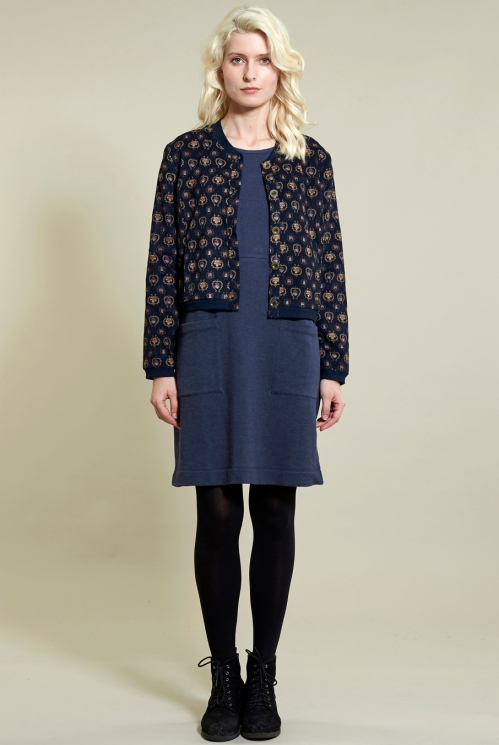 Printed Bomber Jacket in Cotton Needlecord - image shows Navy