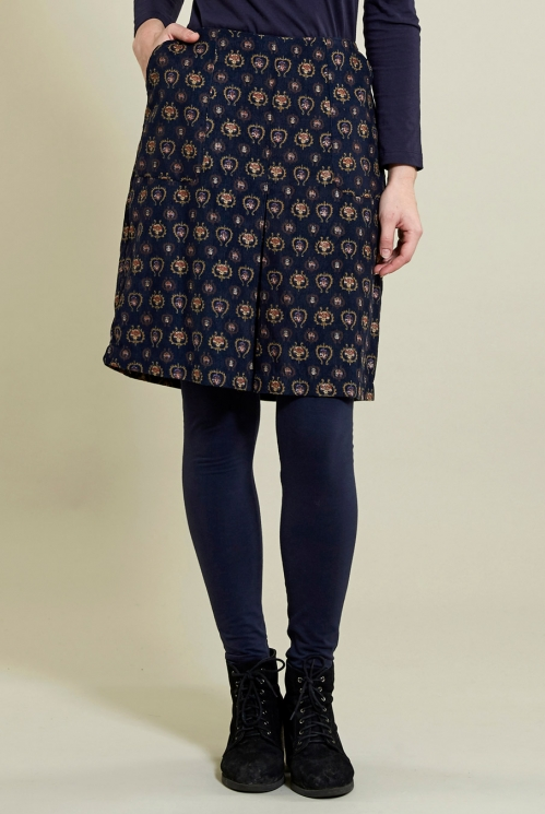 Navy Pleat Front Skirt