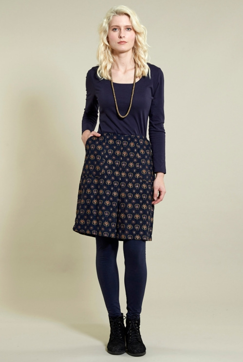 Pleat Front Skirt in Cotton Needlecord - image shows Navy