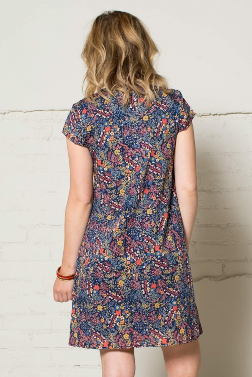 Navy Cap Sleeve Tunic Dress (back)