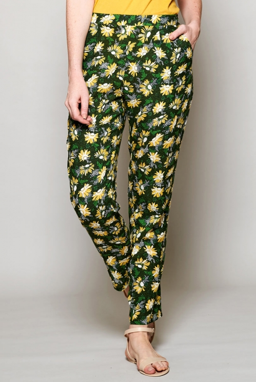 Sustainable Forest Green Printed Peg Trousers