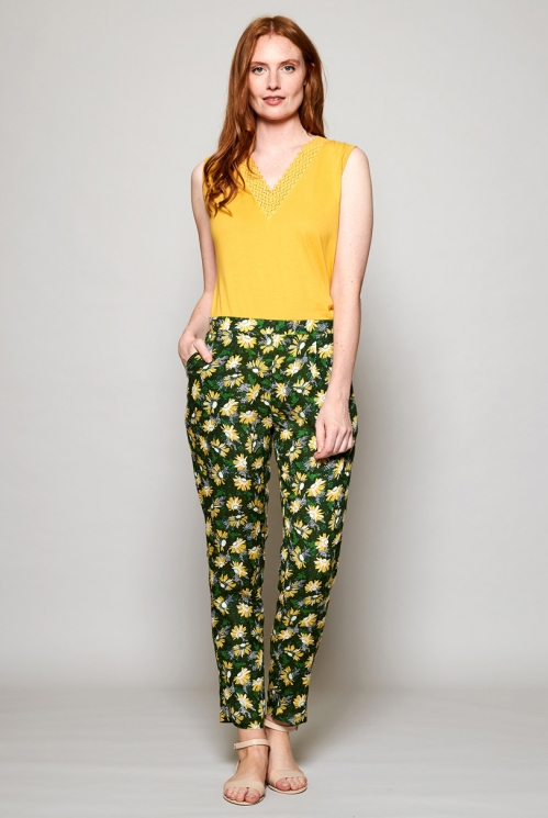 Ethically Made Forest Green Printed Peg Trousers