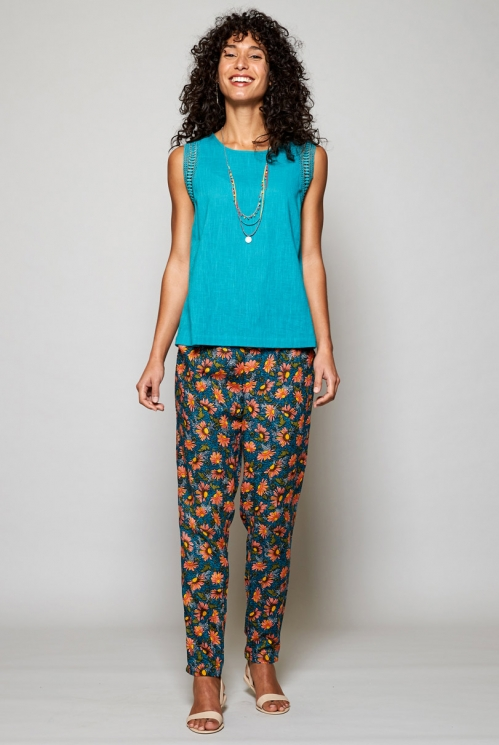 Teal Blue Ethically Made Printed Peg Trousers
