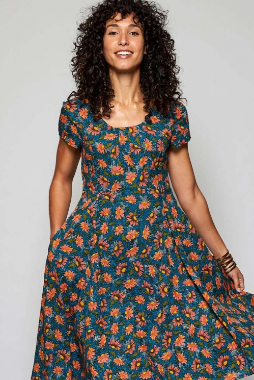 Teal Blue Ethically Made Fit and Flare Floral Cotton Voile Dress
