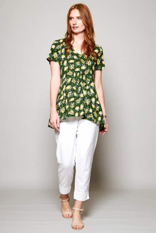 Forest Green Ethically Made Scoop Hem Short Sleeve Viscose Tunic