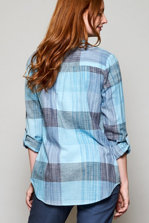 Ethically Made Sky Blue Handloom Cotton Tunic Shirt