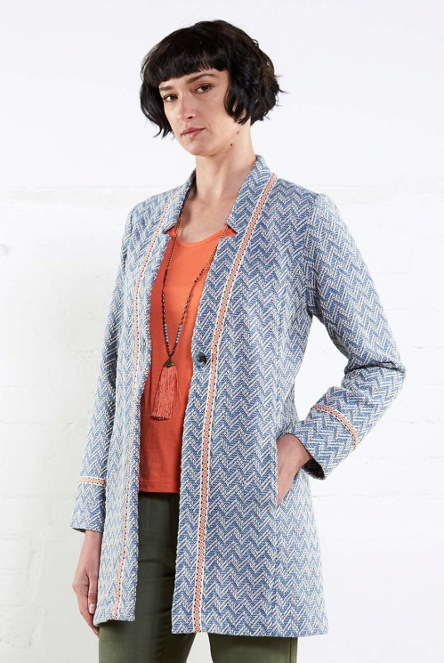 Chambray Handloom ZZ Long Jacket