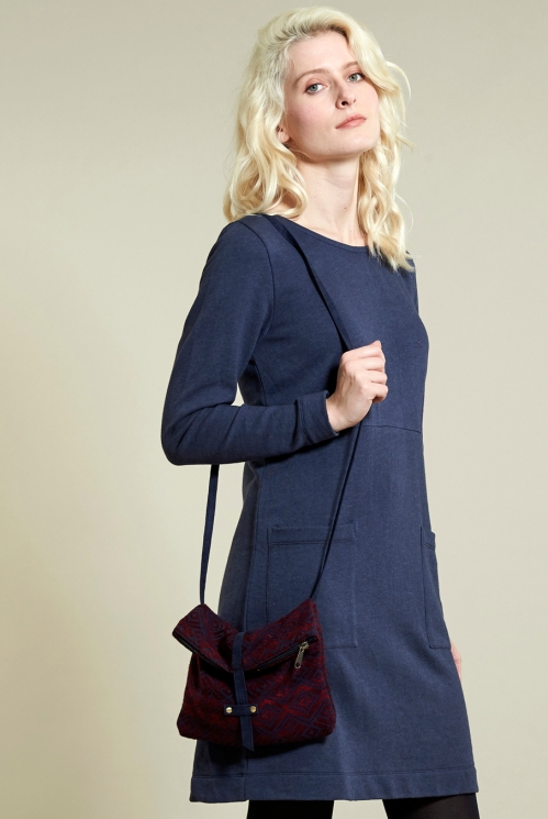 Navy Handloom Cross Body Bag