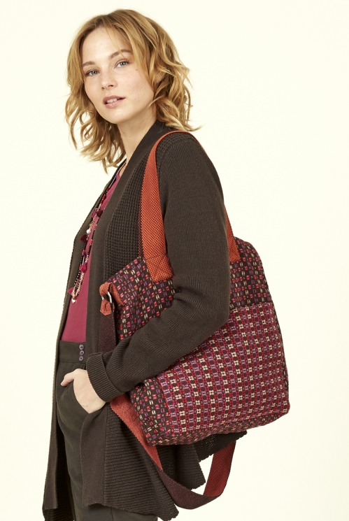Damask Red Fair Trade Handloom Large Tote Bag