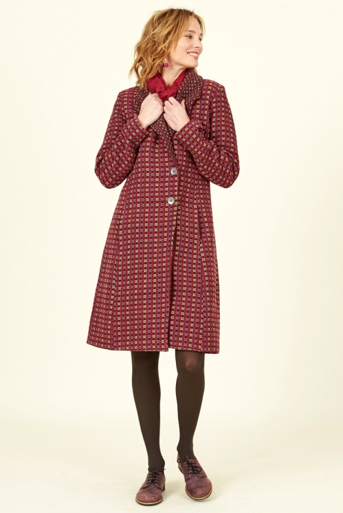 Ethical clothing Damask Red Shawl Collar Handloom Coat