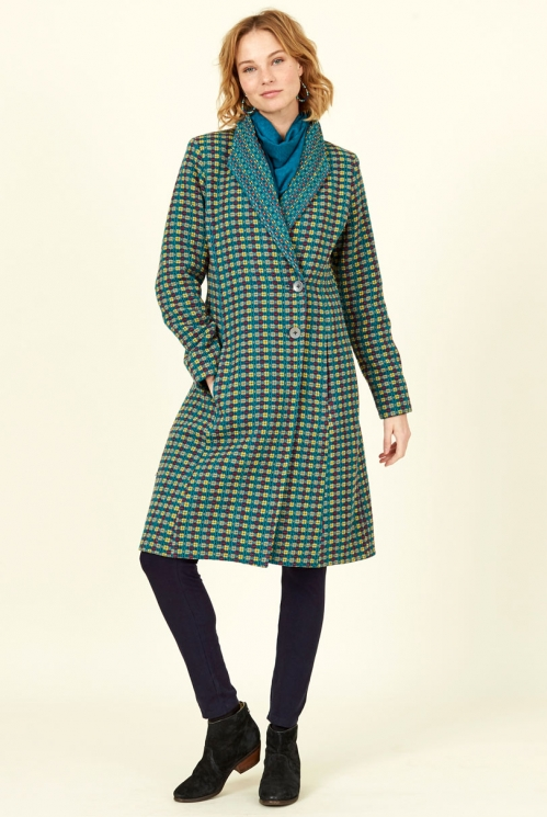Fair Trade Marine Blue Shawl Collar Handloom Coat