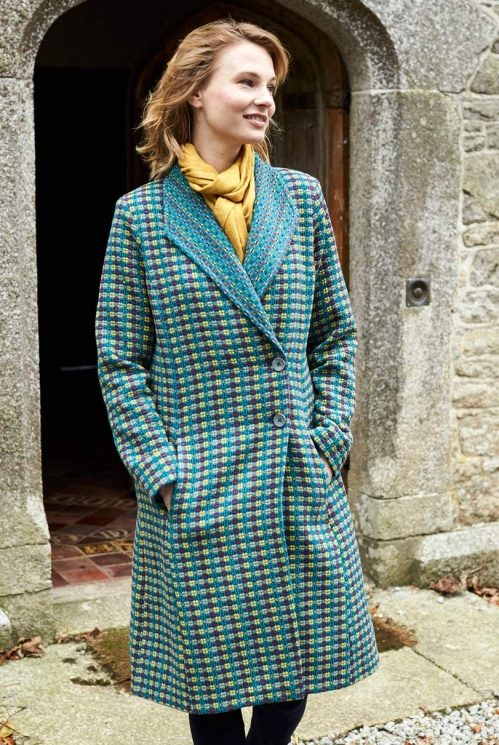 Marine Blue Fair Trade Shawl Collar Handloom Coat