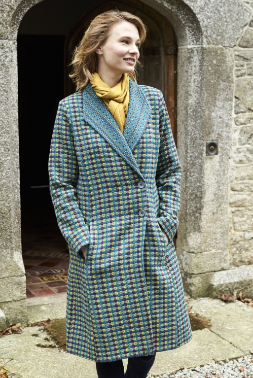 Marine Blue Sustainable Shawl Collar Handloom Coat