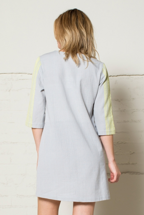 Dove Grey Handloom Tunic Dress (back)