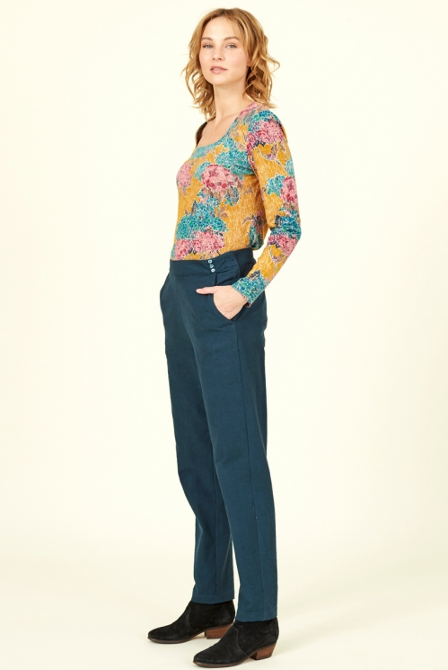 Ink Blue Ethically Made Cotton Slim Leg Trousers