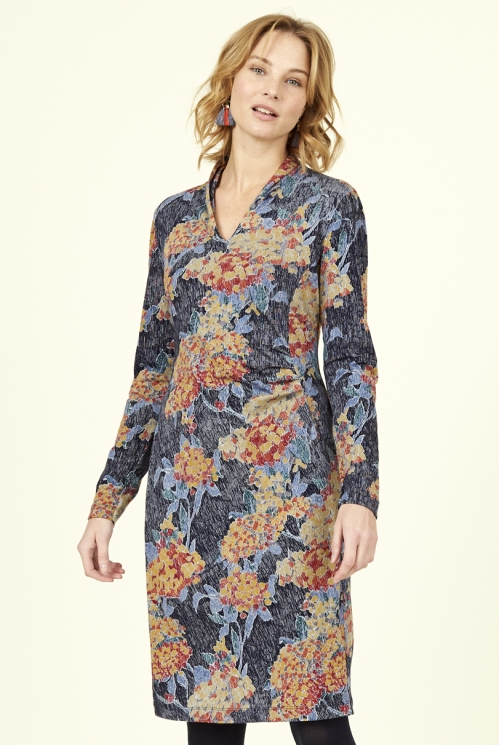 Navy Blue Ethically Made Pleat Detail Organic Cotton Dress