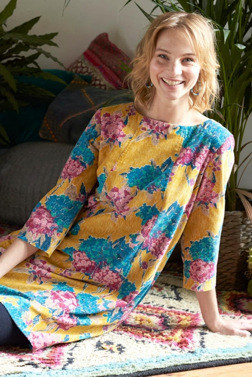 Dijon Yellow Sustainable Floral Cotton Cord Tunic Dress