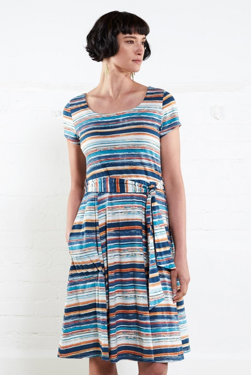 Mango Stripe SS Flare Dress