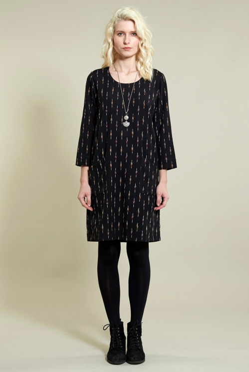 Black Ikat Tunic Dress in Ikat Weave Cotton - image shows Coal