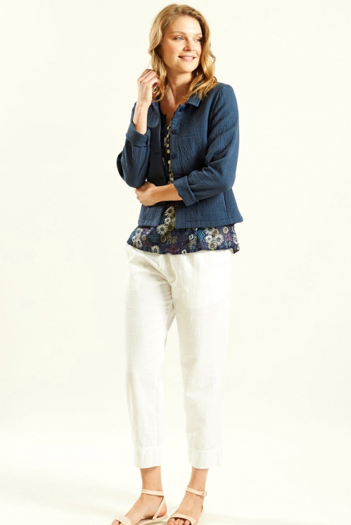 Jacquard Jacket in Cotton Jacquard xtra view of Navy